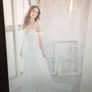 Wedding gown Illusion high neckline crepe skirt